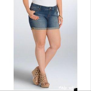 Torrid Skinny Rolled Hem Denim Shorts